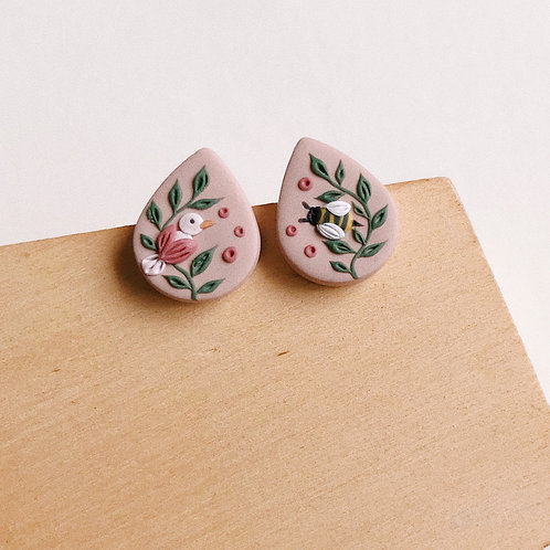 """The Birds & The Bees"" Polymer Clay Stud Earrings"