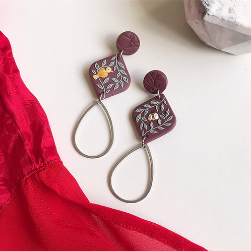 """7.4 cm """"The Birds & the Bees"""" Polymer Clay Earrings"""