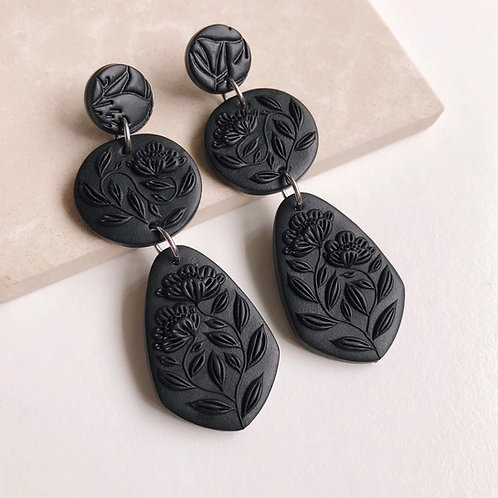 Black Polymer Clay Dangly Earrings Stainless Steel 7cm