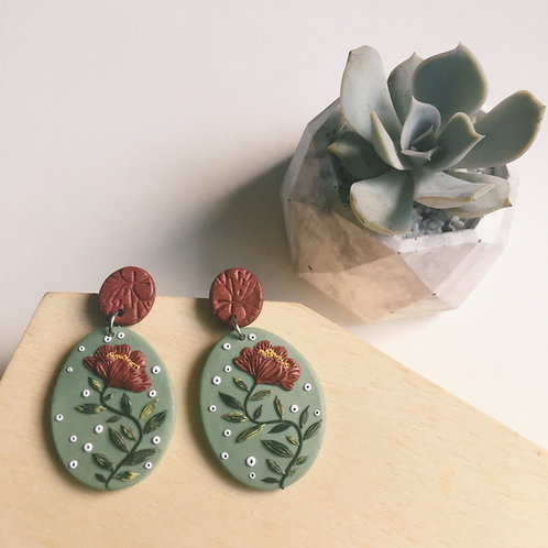 """Mathilde"" Polymer Clay Dangly Earrings Stainless Steel 4.6cm long"