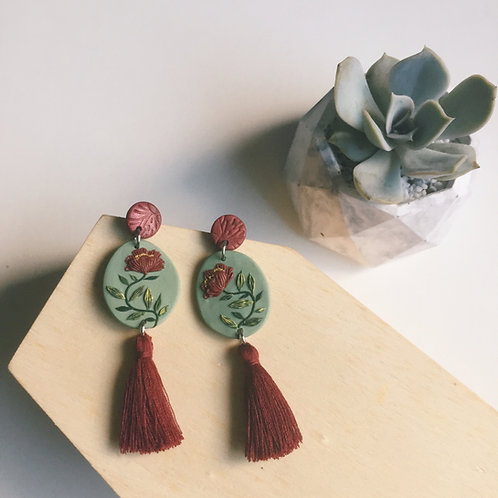"""Mathilde"" Polymer Clay Dangly Earrings Stainless Steel 6.5cm"