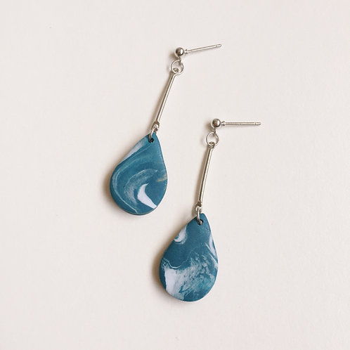 """Meri"" Polymer Clay Dangly Teardrop Earrings"