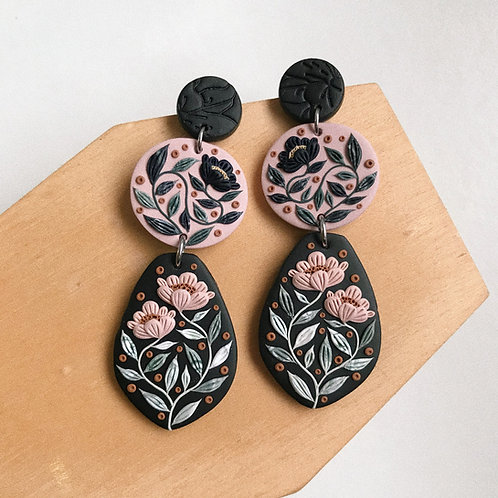 Polymer Clay Dangly Earrings 7cm Stainless Steel