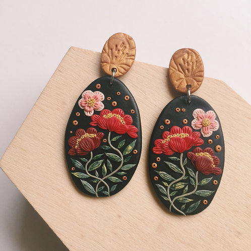 """Freda"" Polymer Clay Dangly Earrings Stainless Steel"