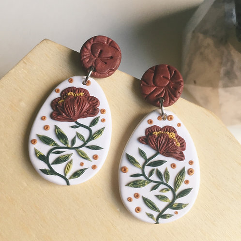 """""""Nicole"""" Polymer Clay Floral Earrings Stainless Steel White & Burgundy 4.4cm"""