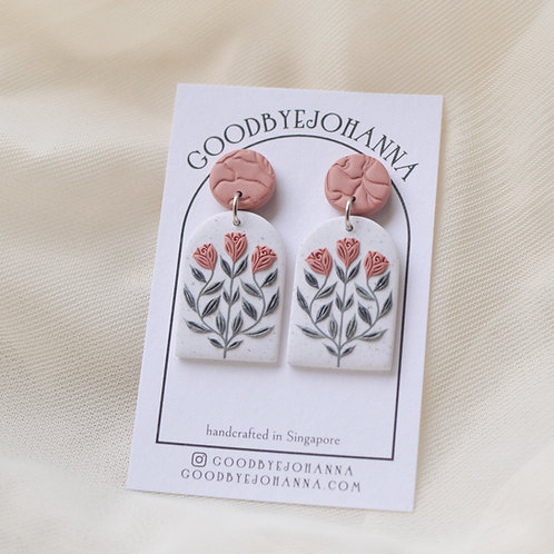 Archway Pink Floral Earrings Stainless Steel (5)