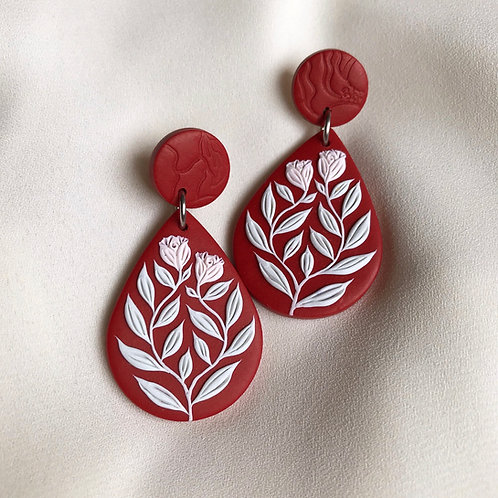 Teardrop Dangly Earrings: Dark Red