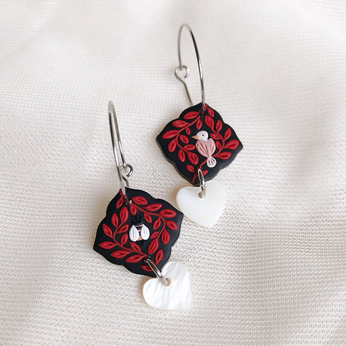 The Birds & the Bees Hoop & Heart Earrings (2)