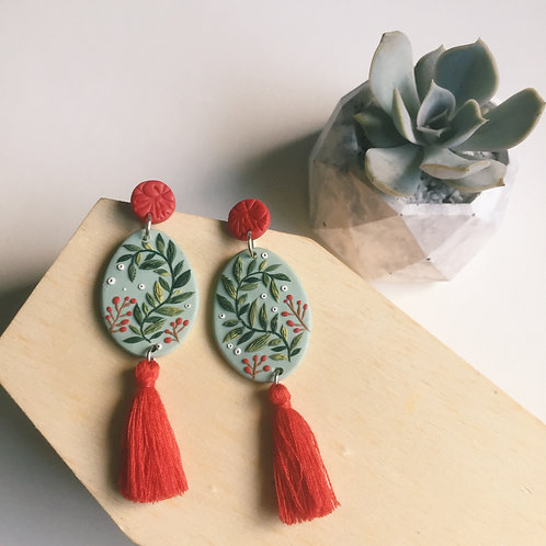 """Mathilde"" Polymer Clay Dangly Earrings Stainless Steel 7.5cm"