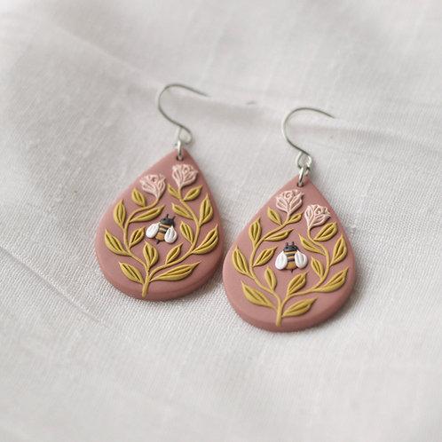 Bee Friends Teardrop Hook Earrings (Dusty Pink Base with Pale Pink Roses)