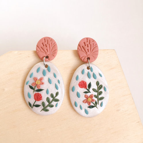 Polymer Clay Dangly Stainless Steel Earrings