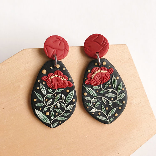 #1 Red Polymer Clay Dangly Earrings Stainless Steel