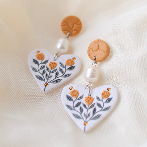PREORDER Pearl & Floral Heart Earrings (Yellow)