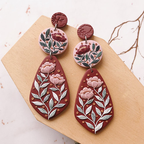 8.5cm Polymer Clay Dangly Earrings Stainless Steel