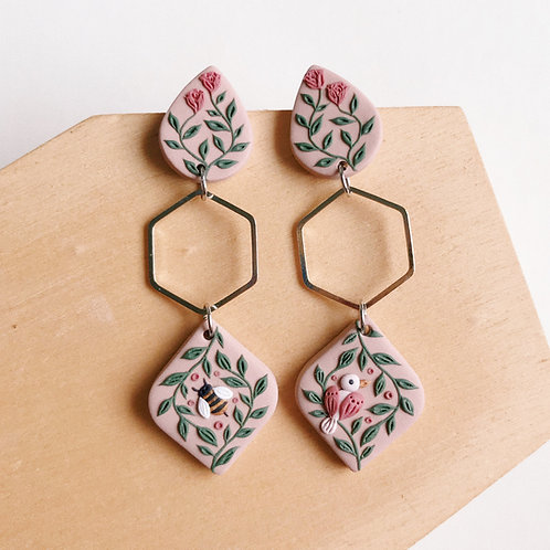 """""""The Birds & The Bees"""" Polymer Clay Earrings"""
