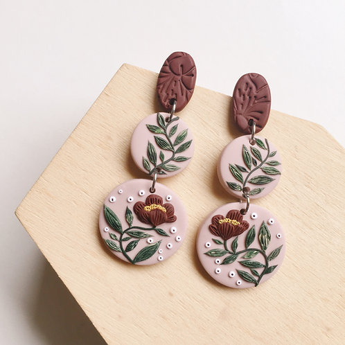Polymer Clay Floral Dangly Earrings Stainless Steel