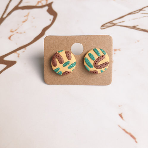 Polymer Clay Abstract Circle Studs Stainless Steel