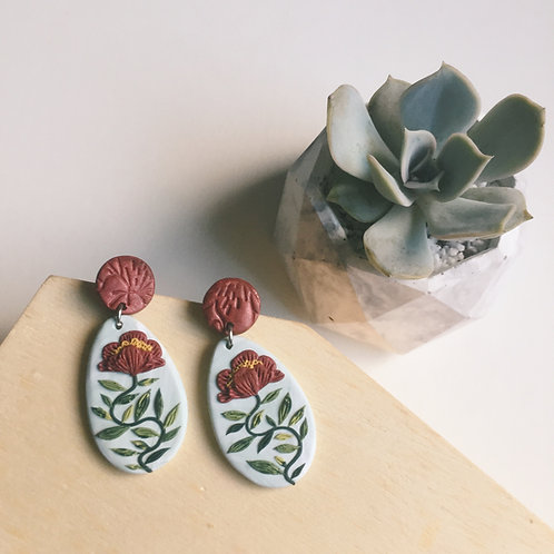 """Mathilde"" Polymer Clay Floral Earrings Stainless Steel 4.4cm"