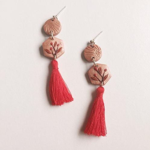 Polymer Clay Dangle Earrings Red Tassels