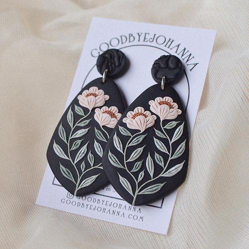 PREORDER Signature Floral Earrings, 6.4cm (Pink & Black)