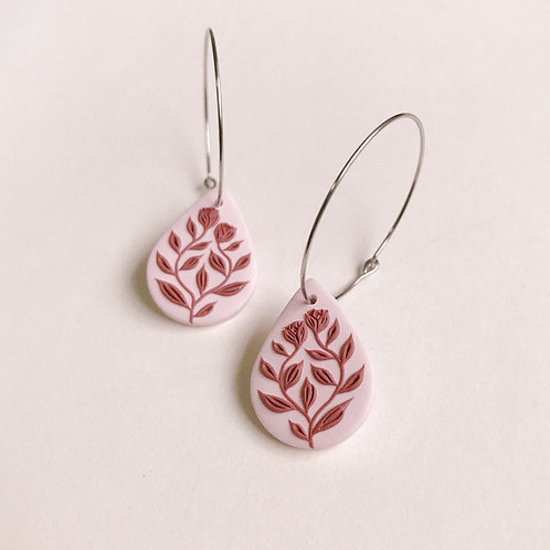 Polymer Clay Dangly Earrings Stainless Steel Small Hoops (11)