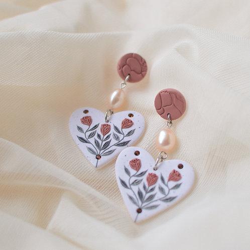 Pearl & Floral Heart Earrings (Pink & Smoky Topaz)
