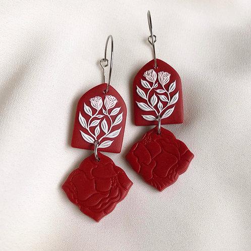 Polymer Clay Dangly Hoop Earrings: Dark Red