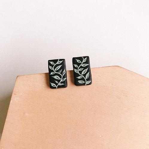 Halloween Rectangle Mint #2 Polymer Clay Stud Earrings