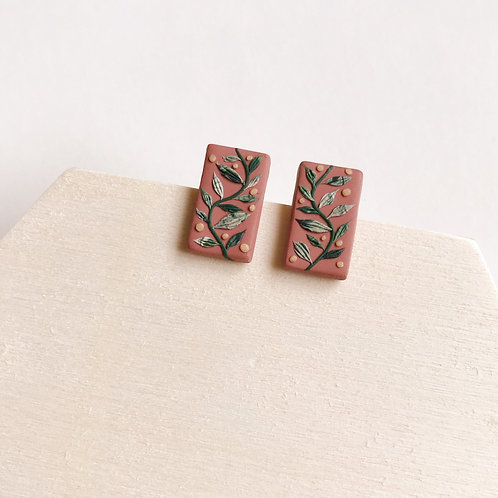 Polymer Clay Rectangle Stud Earrings Stainless Steel