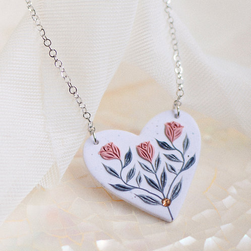 PREORDER Heart Necklace (Pink)