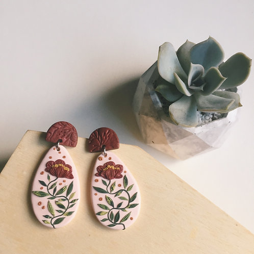 """Nicole"" Polymer Clay Floral Earrings Stainless Steel Pink & Burgundy 4.9cm"
