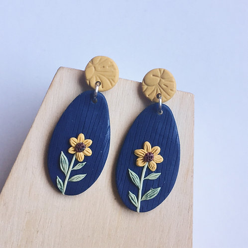 Polymer Clay Dangly Earrings Navy & Yellow