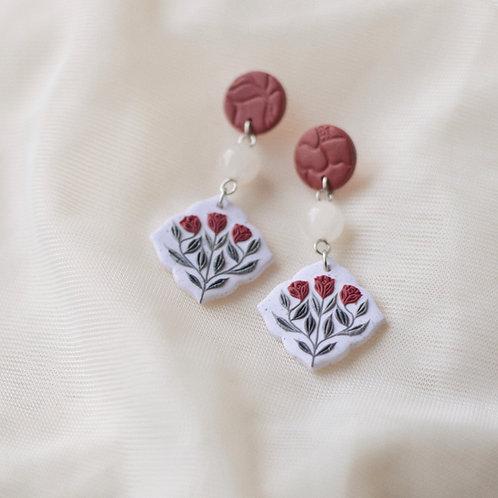Red Floral Earrings Stainless Steel
