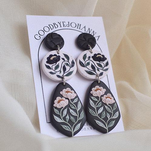PREORDER Granite Signature Floral Earrings, 7cm