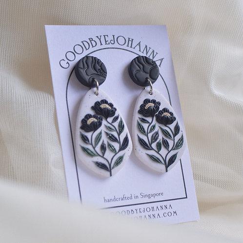 PREORDER Granite Signature Floral Earrings, 4.9cm