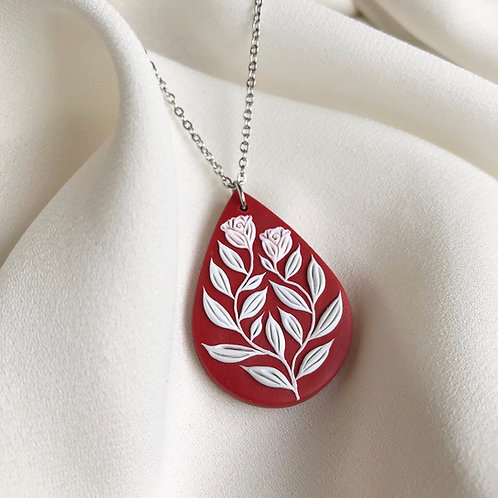 Polymer Clay Teardrop Necklace: Dark Red