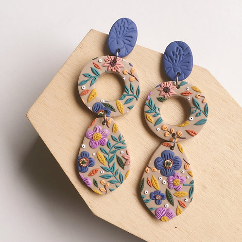 Polymer Clay Long Dangly Earrings Stainless Steel