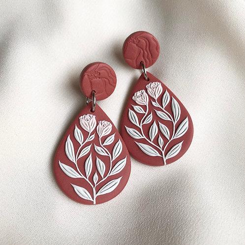 Teardrop Dangly Earrings: Terracotta