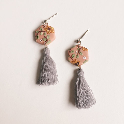 """Pippa"" Hexagon Tassel Polymer Clay Earrings"