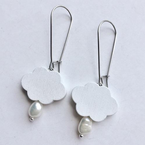 Wood Clouds & Pearls Earrings
