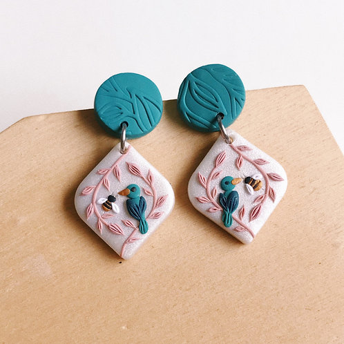 """The Birds & the Bees"" Polymer Clay Earrings Mini"