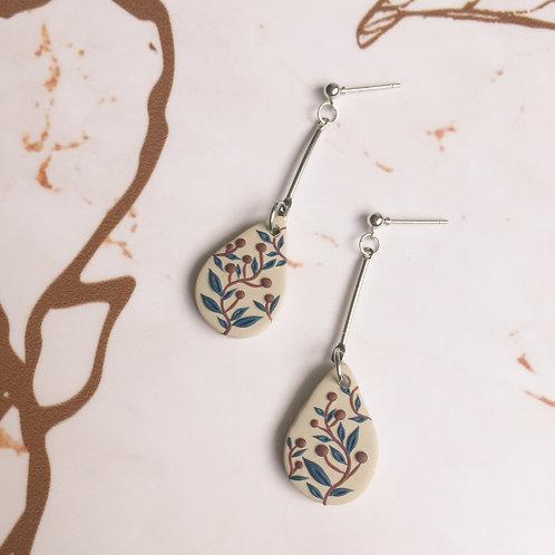 """""""Charlotte"""" Small Polymer Clay Teardrop #3 Dangle Earrings"""