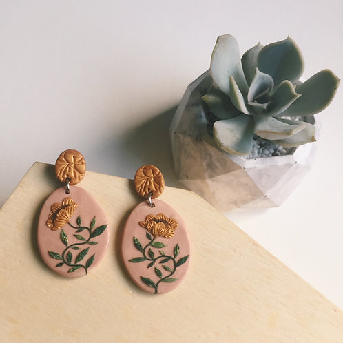 """Nicole"" Polymer Clay Floral Earrings Stainless Steel Pink & Gold 4.1cm"