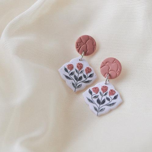 Pink Floral Dangly Earrings Stainless Steel