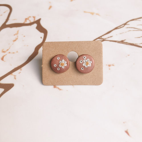 Polymer Clay Floral Stud Earrings Stainless Steel