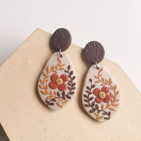 """Jenna"" Polymer Clay Dangly Earrings Stainless Steel"