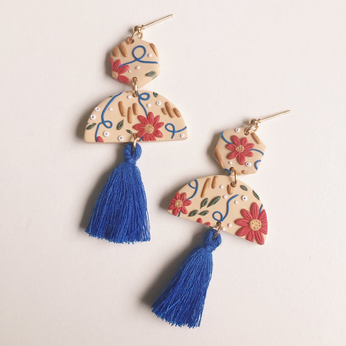 """Emily"" Polymer Clay Dangly Tassel Earrings"