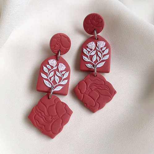 Polymer Clay Dangly Earrings: Terracotta Rose