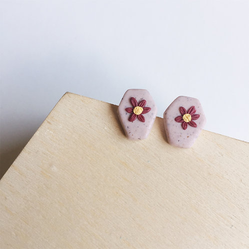 Mini Granite Flower Coffin Studs Lilac Pink Stainless Steel