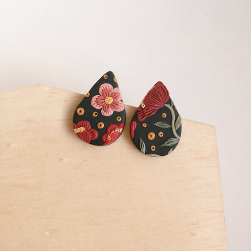 """Freda"" Polymer Clay Stainless Steel Teardrop Stud Earrings"